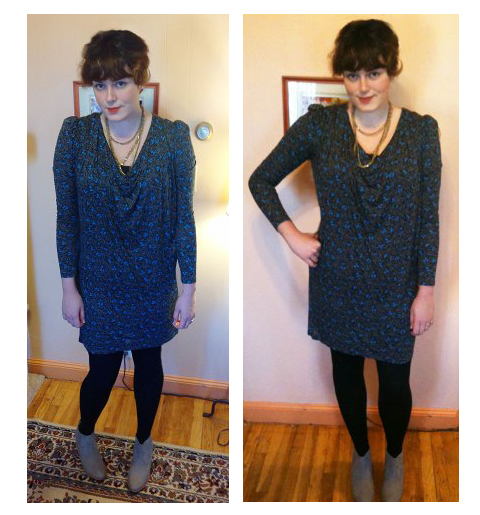 The Clydes, styled for winter. Dress: French Connection, Tights: Legale, Necklace: Eddie Bauer, Shoes: c/o Barefoot Tess