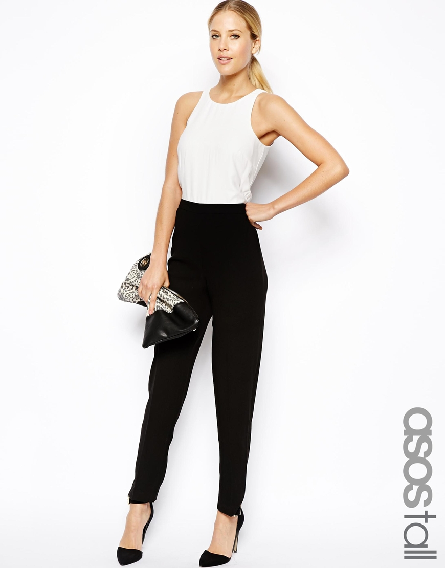 ASOS Tall Jumpsuit in Monochrome Racerback Detail