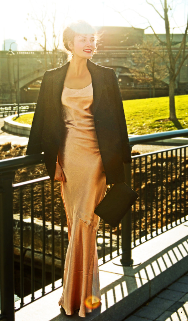 Wearing the Metallic Maxi Dress in Rose Gold c/o Long Tall Sally; Linda Allard x Ellen Tracy tuxedo jacket; Rebecca Minkoff clutch; Sam Edelman heels; Lipstick Queen Neon Rose Sinner lipstick