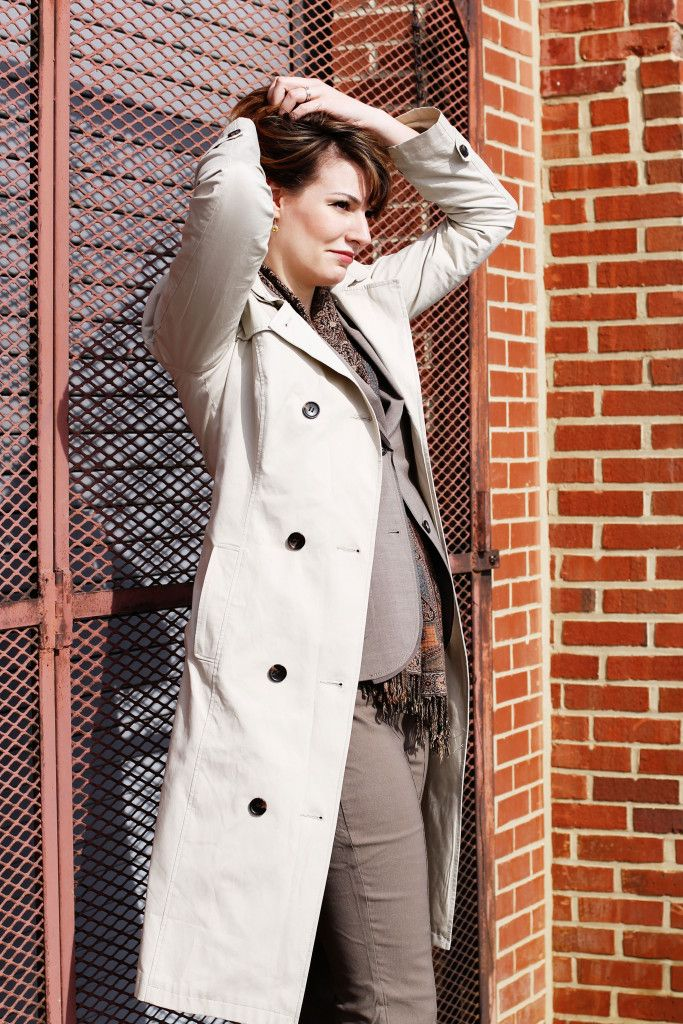 Classic Trench c/o Long Tall Sally; vintage scarf; Banana Republic pants suit; Chinese Laundry heels