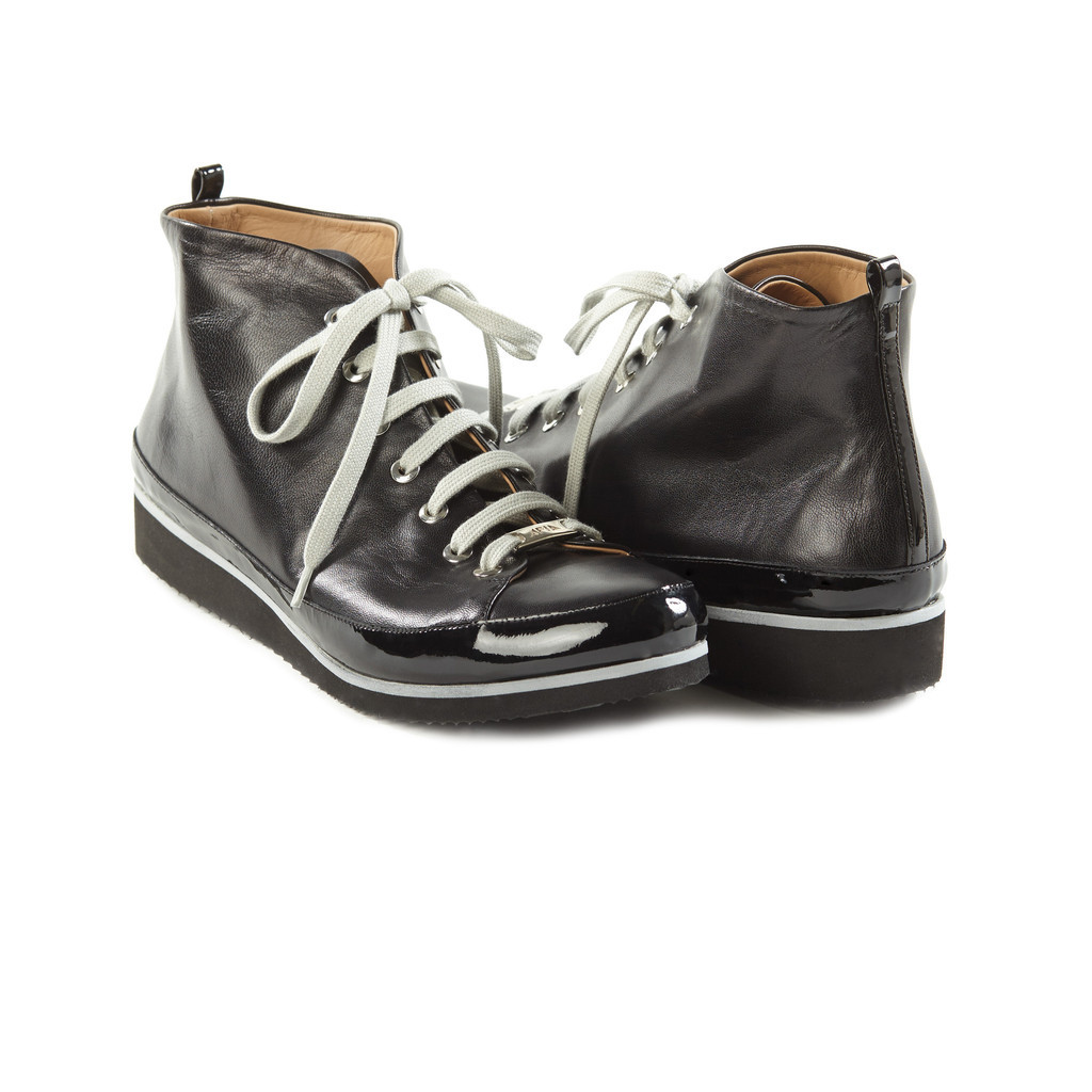 The awesomely hip Lisabetta High Top Sneaker ($336), built on sacchetto construction