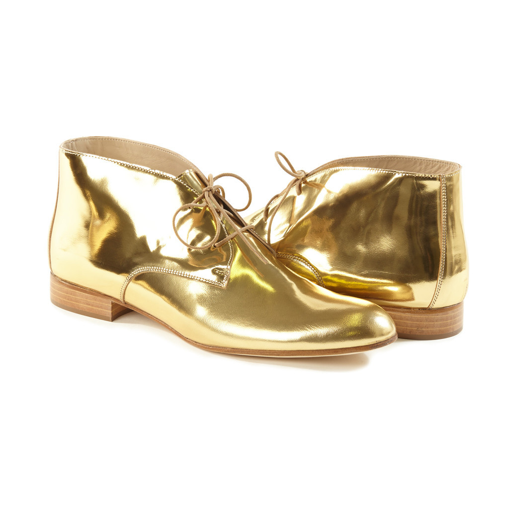 "The ""Woman Up!"" Siena Gold Chukka Boots ($366) from Autograf New York"