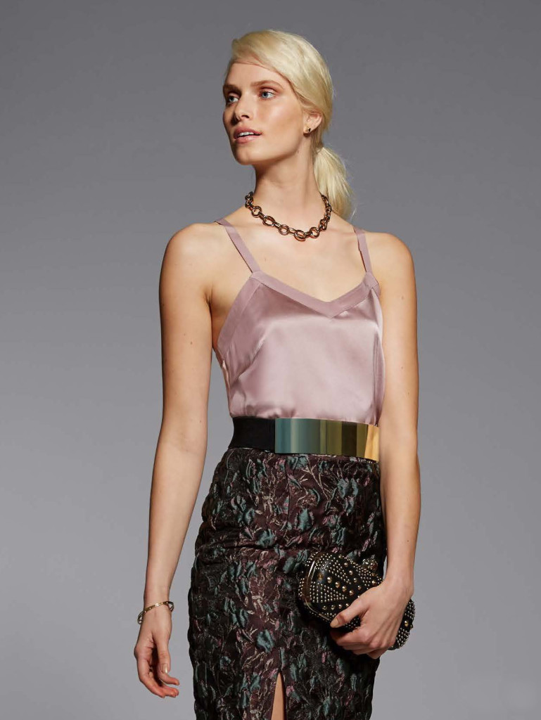 Model Bree Smith wears the Amalie Silk V-Neck Camisole and the Elise Jacquard Skirt