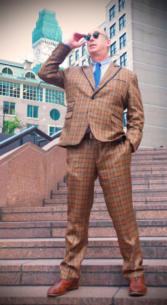 Wearing a custom tall suit, c/o Clavon's Wear