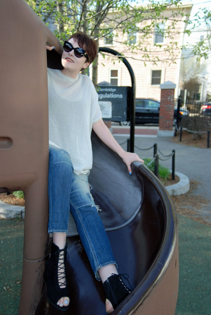 Wearing the Egypt Suede Lace Up Boots c/o Long Tall Sally; All Saints sweater; Rag & Bone jeans; Max Mara sunglasses.
