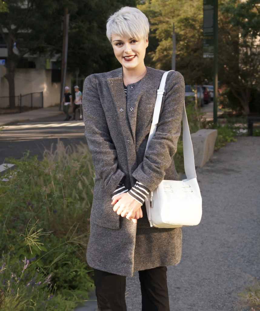 Wearing the Allegro black trousers (Editor's own); Long Sleeve Breton Top ($39), Boiled Wool Collarless Coat ($209); and the LTS Amber Suede Boot ($175) c/o Long Tall Sally; bag by Halston Heritage